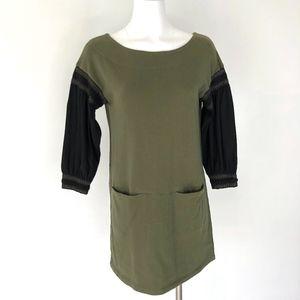 New Romantics | Green Shift Dress Balloon Sleeve
